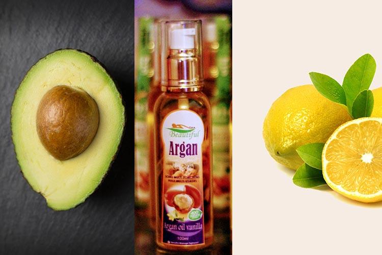 масло аргана, лимон и авокадо