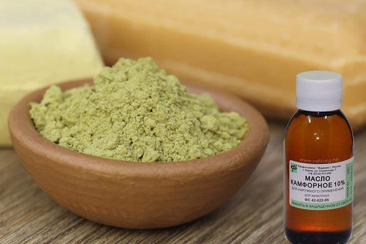 зеленая глина и камфорное масло