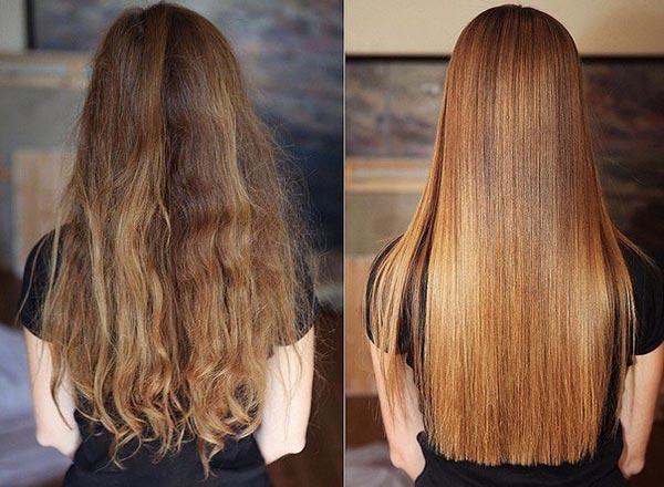 Фото до и после процедуры ламинирования желатином